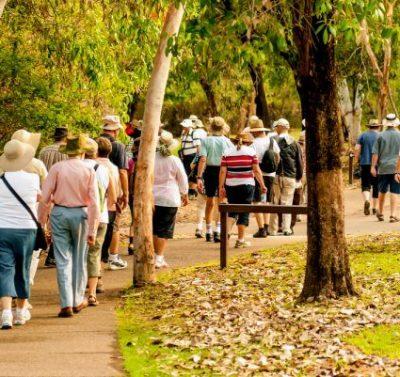 Touristische Gruppenreise im Wald