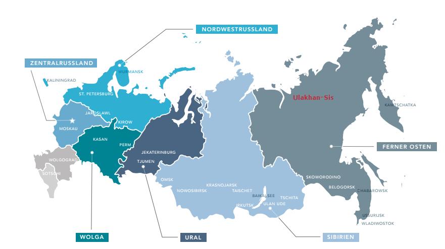 Klettern in Russland - Landkarte Russland
