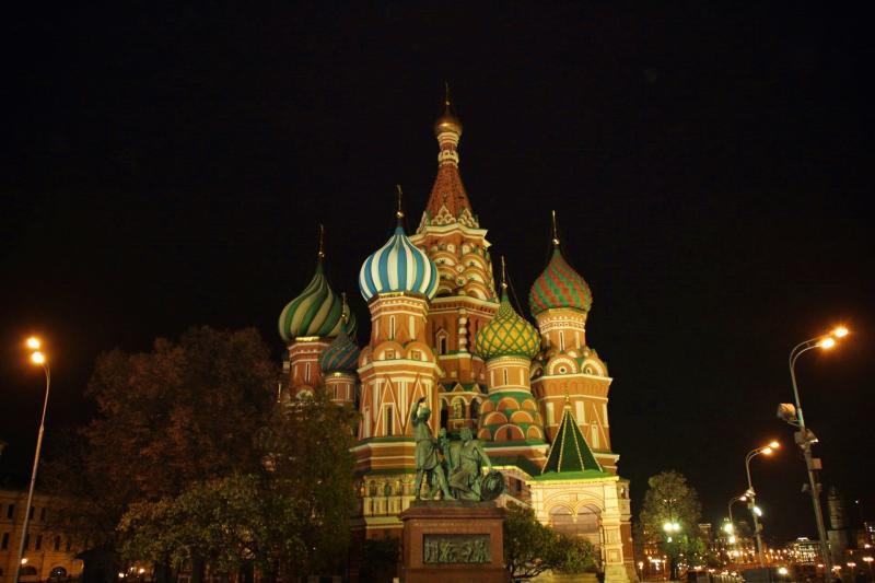 Basiliuskathedrale in Moskau bei Nacht